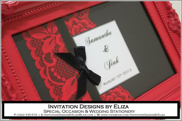 Designer Frame  {Wedding} Black, White & Red Theme https://www.facebook.com/InvitationDesignsByEliza