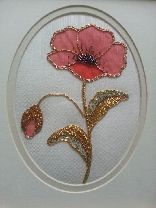 Poppy in Goldwork with Chiffon & Beads