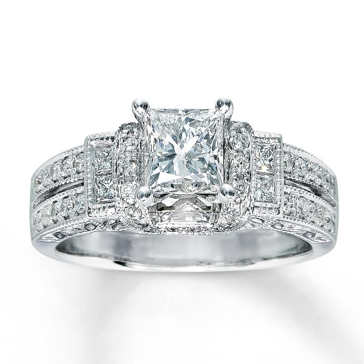 Simple I fell in love with this ring Diamond Engagement Ring ct tw Princess cut White Gold Kay Jeweler us every kiss begins with K