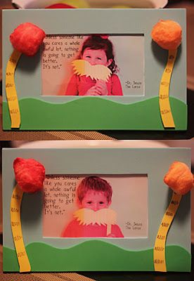 the lorax frame- use pipe cleaners, foam, and Pom poms