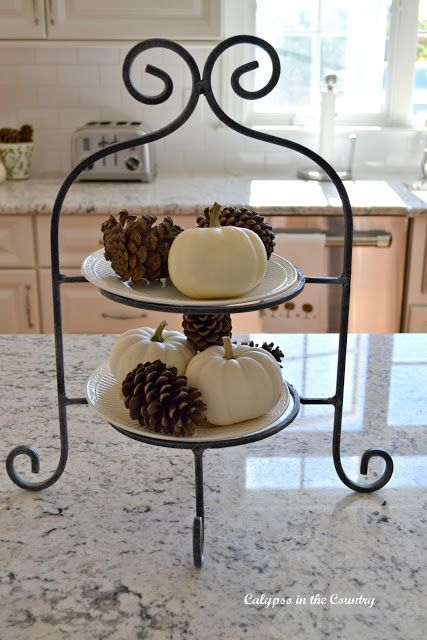 Wrought Iron Tiered Plate Stand with White Pumpkins and Pine Cones