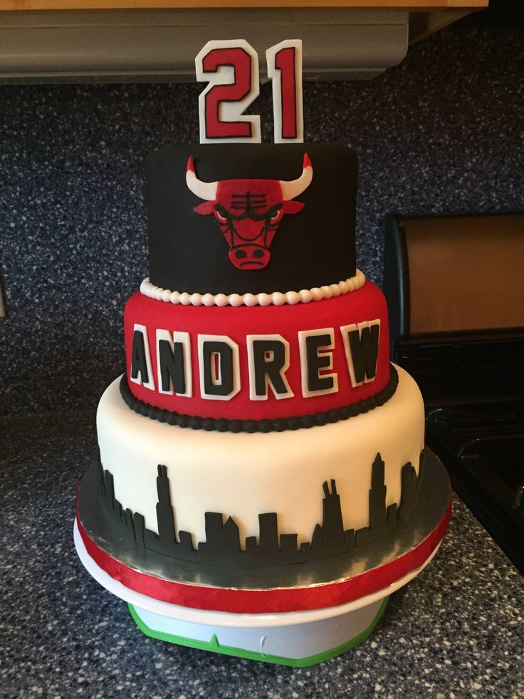 Made this Chicago Bulls cake