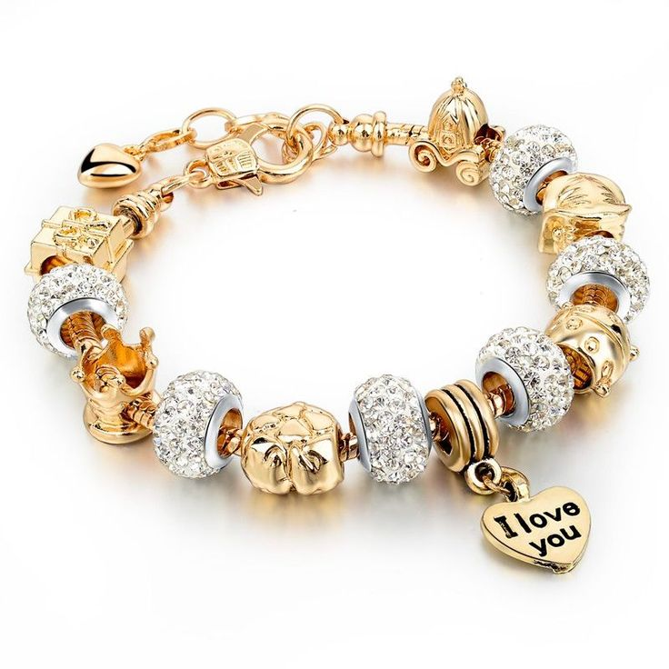 Gold Love Heart Charm Bracelet - Gold Plated Snake Chain - Hollow Stranded Beads