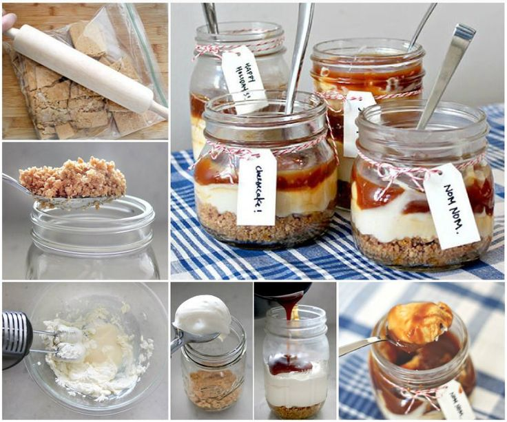 No Bake Salted Caramel Cheesecake in a Jar