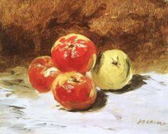 Dit schilderij heeft een centrale compositie, de appels staan in het midden, ze staan centraal.