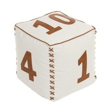 Pouf forma de cubo cubo en piel sintética:      Modelo: Números     Material: Lona / Piel sintética     Relleno: Bolitas de espuma     Medidas: 42x42x42 cm     Colores disponibles: Blanco, Beige, Musgo