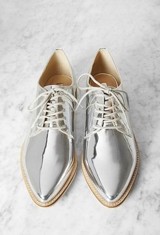 Metallic Faux Leather Oxfords | Forever 21 | #stepitup