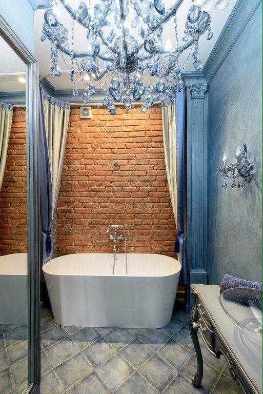 #интерьер ванной комнаты в голубом цвете - стильно, элегантно, уютно.