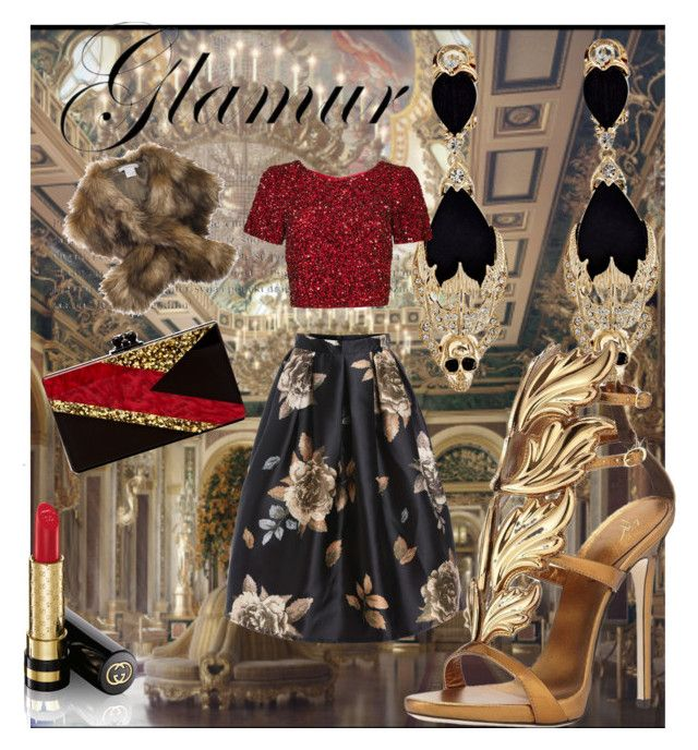 """""""Untitled #12"""" by shameera86 on Polyvore featuring beauty, Givenchy, Parker, Chesca, Giuseppe Zanotti, Edie Parker and Gucci"""