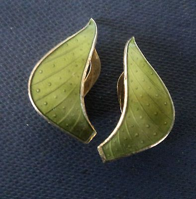 Norwegian-Sterling-Silver-Green-Enamel-Clip-On-Earrings-Ivar-Holt-Norway