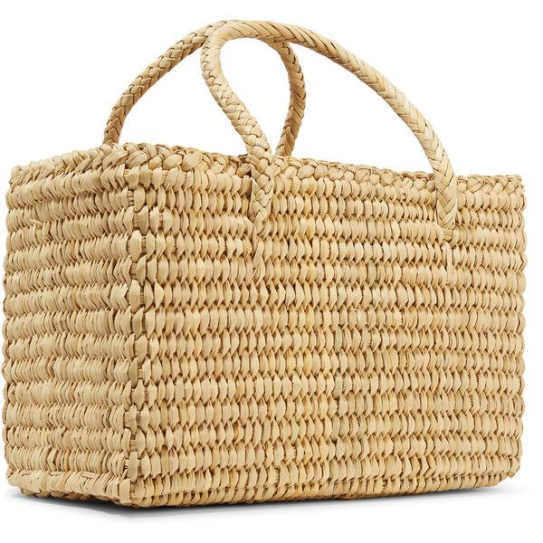 Nannacay Maldives Baby pompom-embellished woven raffia tote ($115) ❤ liked on Polyvore featuring bags, handbags, tote bags, beige purse, beige tote bag, woven beach tote, raffia beach tote and raffia tote