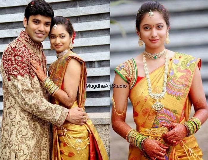 Bride in Mustard Uppada Silk Saree