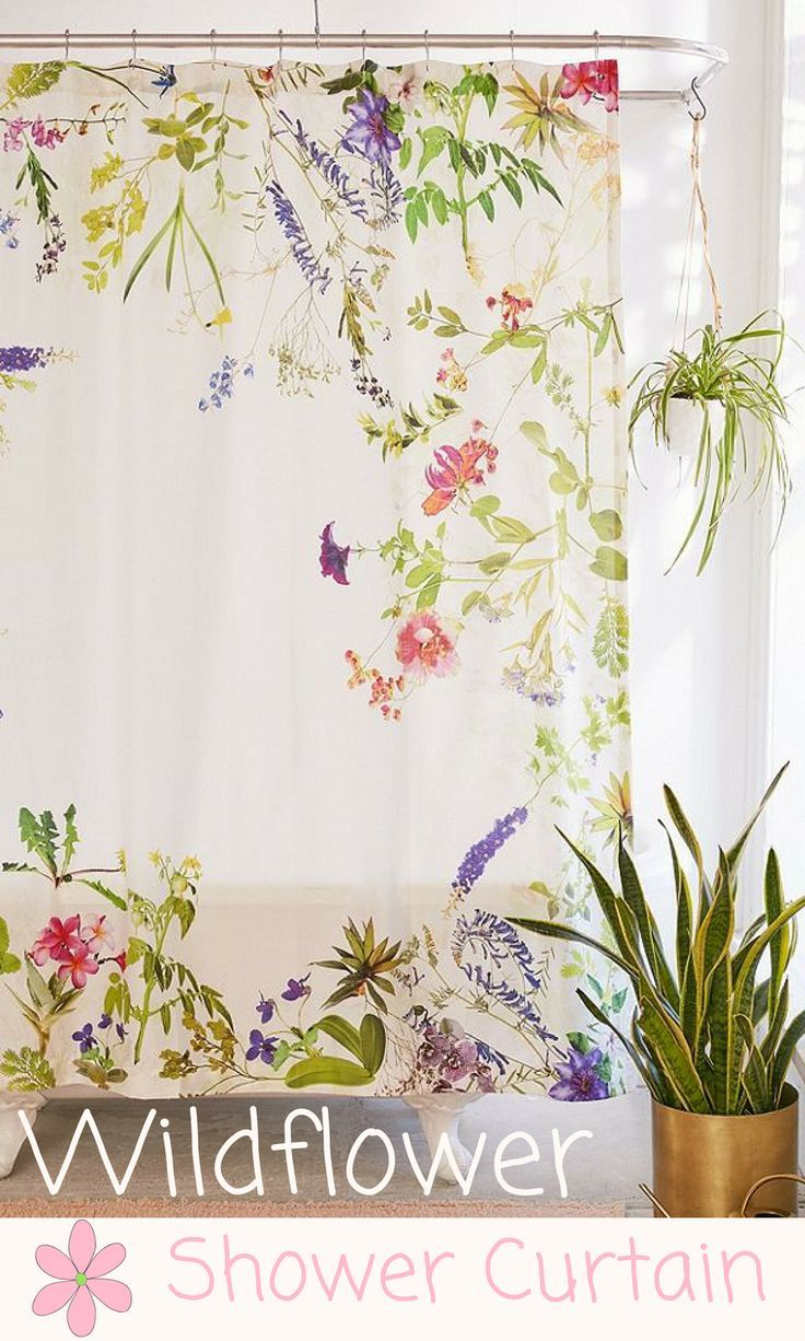 Frame Yourself In Wildflowers With This Watercolor Print Shower Curtain Topped Holes For Hanging