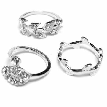 3pcs Gold Silver Plated Crystal Leaf Knuckle Rings