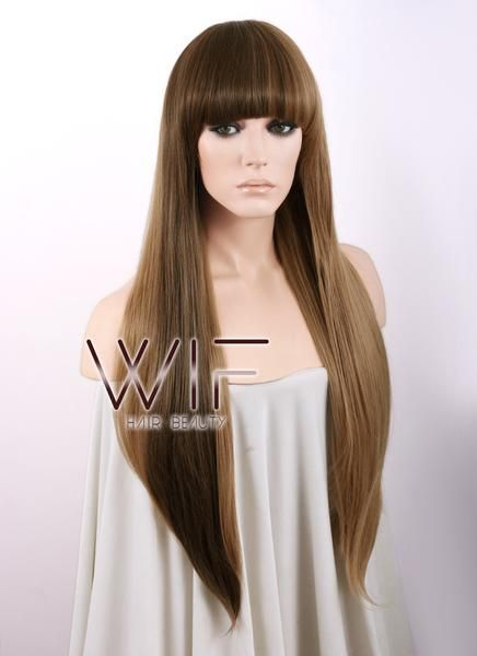 "27"" Straight Brown Mixed Blonde Synthetic Wig WIG007"