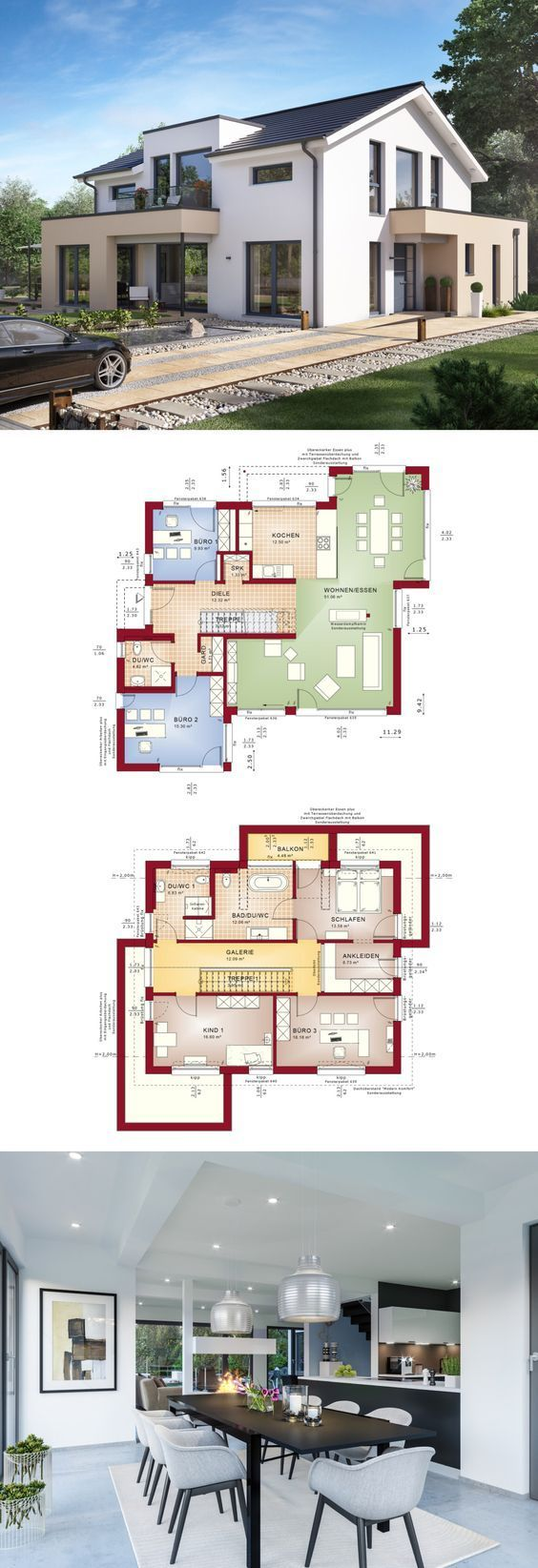 Modernes Designhaus mit Schrägdach – Fertighaus Concept M 155 Bien Zenker – Einfamilienhaus Bauplan Grundriss moderne offene Küch …