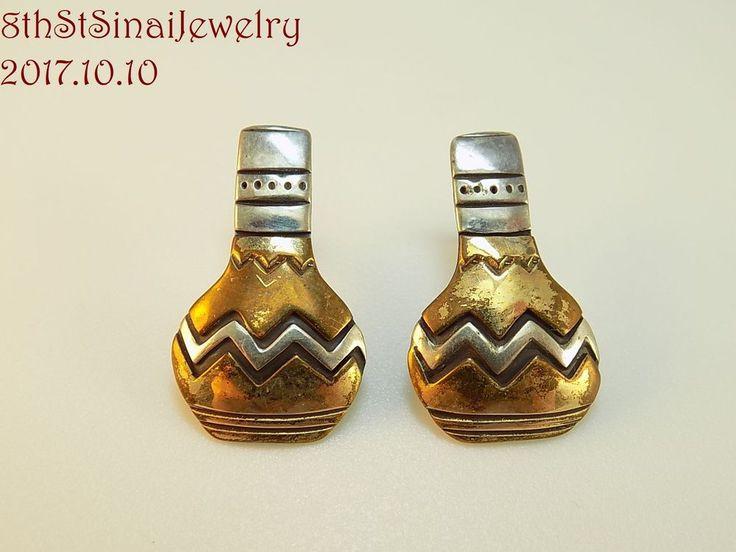 Estate Sterling Silver 925 Mixed Metals Southwestern Vase Urn Pot Post Earrings #Unbranded #Stud
