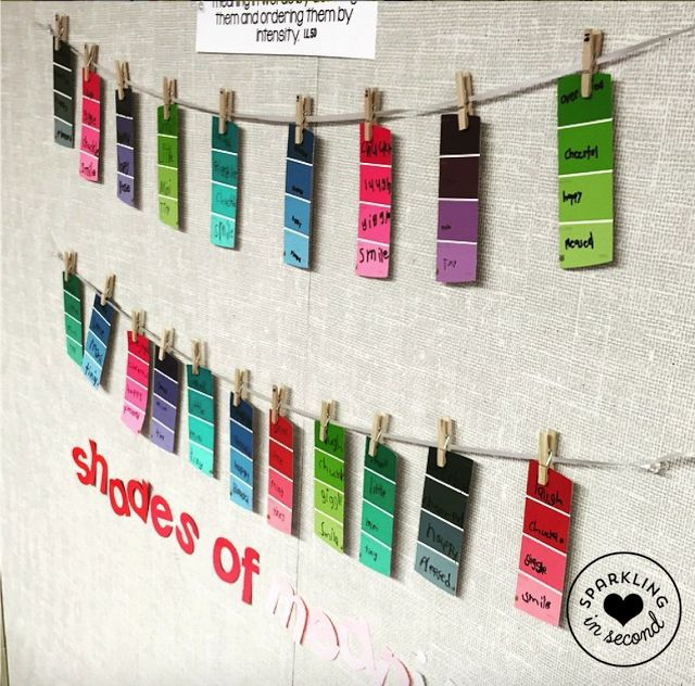 shades of meaning activity using paint sample cards