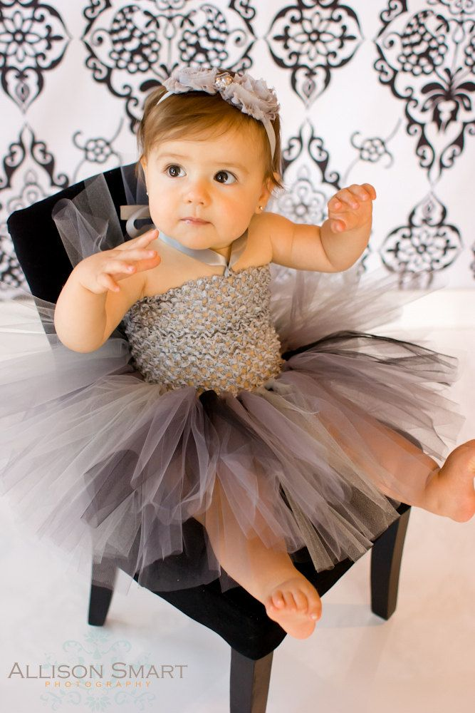 Baby Girls Tutu Dress Silver Charcoal Gray Black Crochet