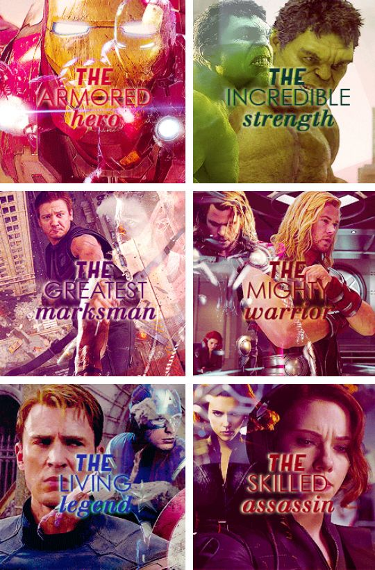 The Avengers. Everyone has a role to play. On falls, they all fall.