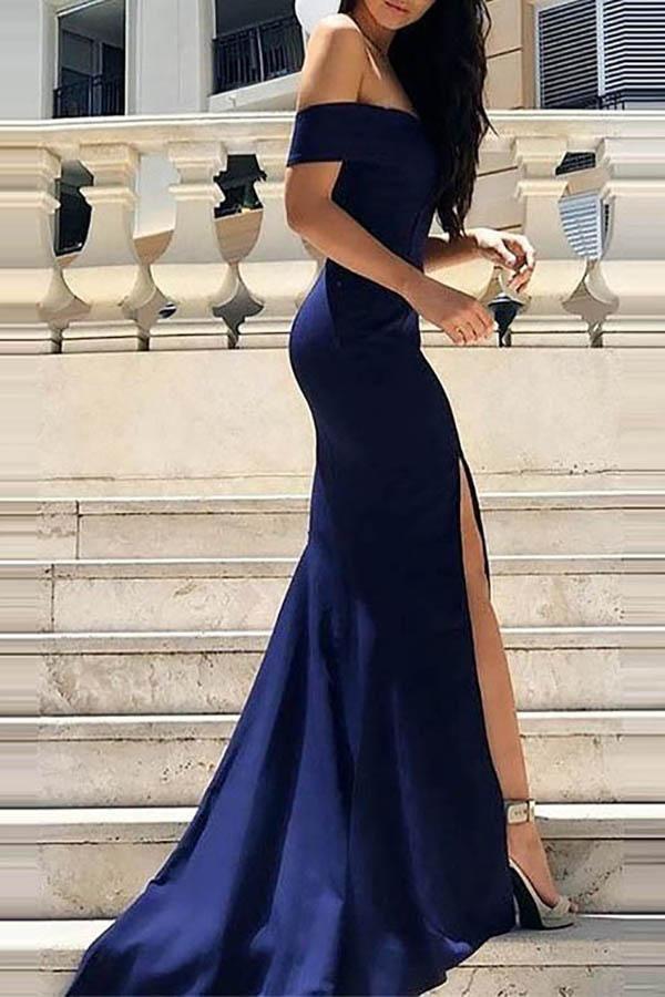 Dark Blue Off Shoulder Split Sleeveless Evening Dress In