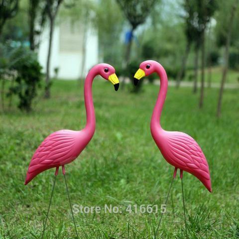 "2Pcs Plastic Pink Simulation Flamingo Garden Yard and Lawn Bird Art Ornament Garden Decoration Ceremony Decoration 31"" Height"