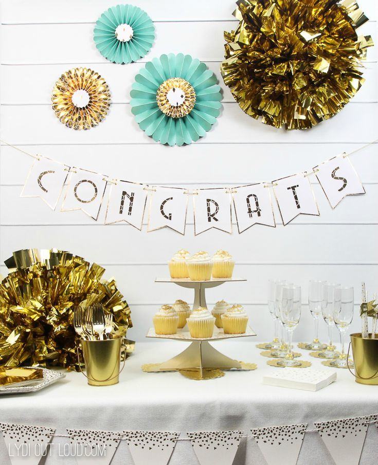 Customize a bridal shower or birthday party with these elegant gold party  decorations via  LydiOutLoud  goldpartydecorations  engagementparty   bridalshower ... df36f19c0efa