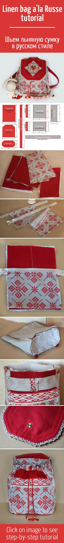 épinglé par ❃❀CM❁✿Шьем льняную сумку в русском стиле / How to sew linen bag a'la Russe tutorial: