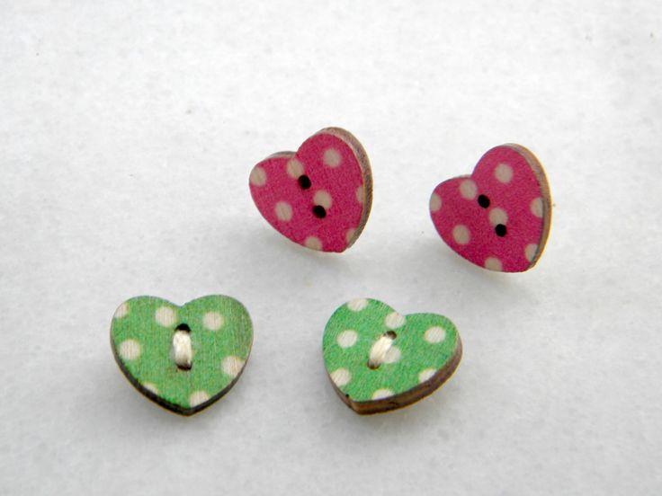 Button earrings, wooden button stud earrings, post earrings polka dot buttons by prosinemi on Etsy