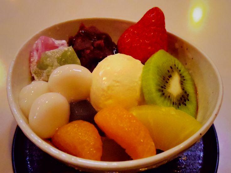 mitsumame topped with bean jam