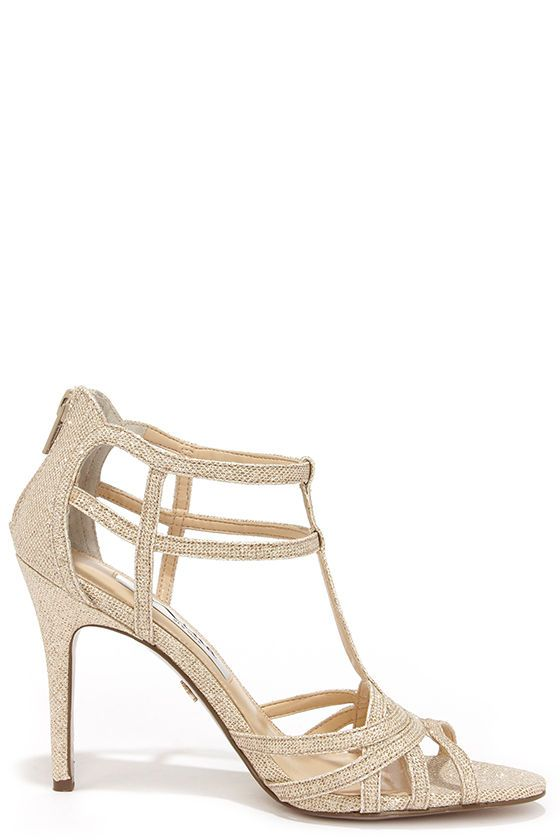 Nina City Champagne Bliss Gold Dress Sandals at Lulus.com!