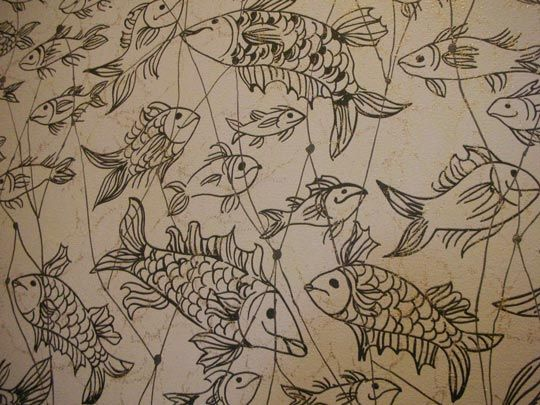 Vintage Fish Wallpaper For Bathroom