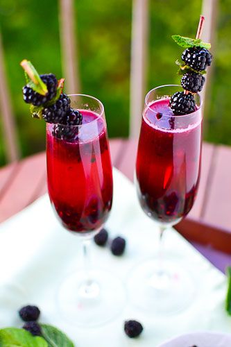 Blackberry Champagne Margaritas | 1 cup blackberries + more for garnish  2 tbsp sugar  ** Note: recommend using simple syrup rather than straight sugar — it'll give you a more concentrated and even sweet flavor.  1 tbsp lemon (or lime) juice  4 oz champagne (1 oz = 1 shot)  2 oz tequila