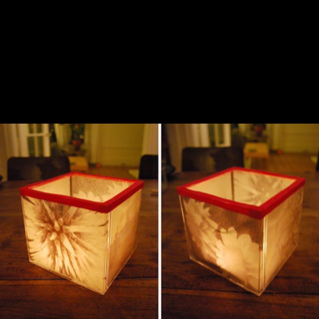 Cool, Crafty Things You Can Do With Your Old CD Cases BY AMBER BOUMAN - Crafty Candle holder -you'll need an image printed on velum (or any other see-through paper), some ribbon and glue. Slide the image inside the case and use the ribbon and the glue to hold the cube shape together, and you're done.
