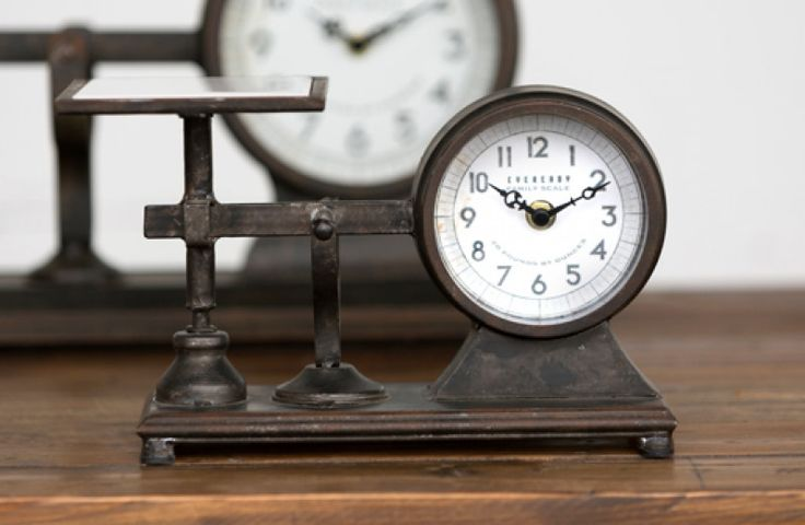 "Industrial Scale Clock. 10.5"" Wide x 4.5"" Deep x 6.5"" High. $26.99."