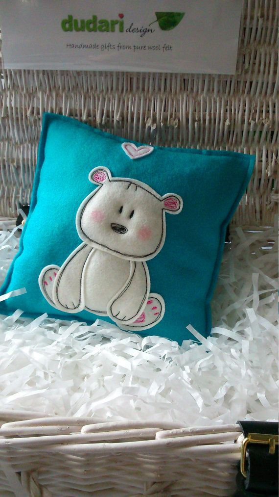 Items similar to Little bear pillow - made from pure wool felt on Etsy