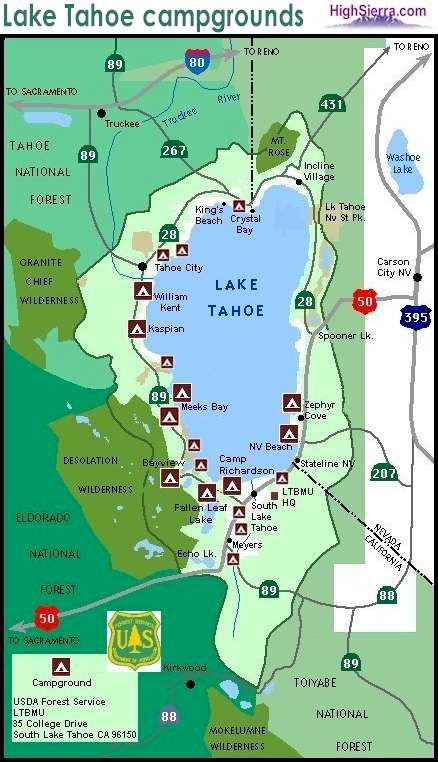 Lake Tahoe camping map