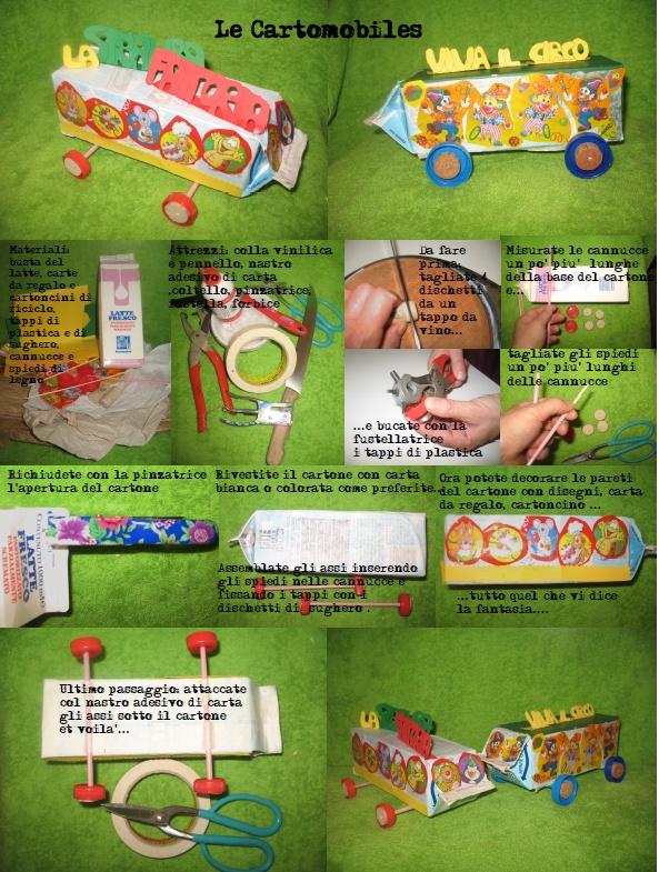 Le cartomobiles: trasforma i cartoni del latte in divertenti automobili, furgoni e bus con i tuoi bambini