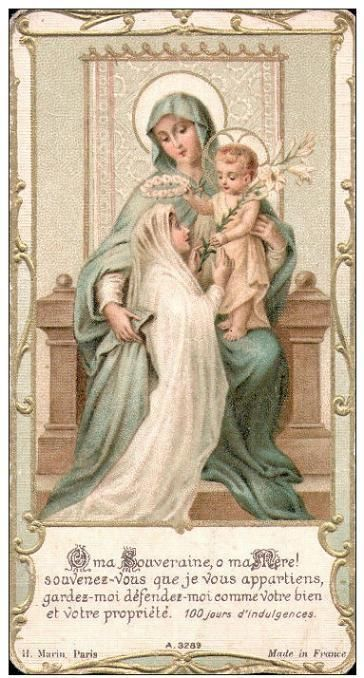 """In that first 'fusion' with Jesus (holy communion), it was my Heavenly Mother again who accompanied me to the altar for it was she herself who placed her Jesus into my soul."" --Saint Therese of Lisieux, Doctor of the Church"