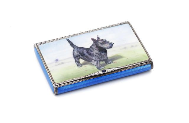 A silver and enamel cigarette case with import marks for London 1928....Bonhams