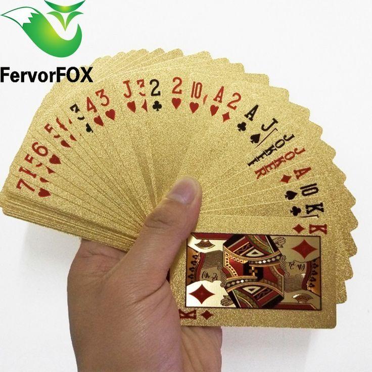 54 pcs Asli Tahan Air Mewah 24 K Emas Foil Disepuh Papan Permainan Bermain Kartu Poker Premium Matte Plastik Untuk Hadiah koleksi
