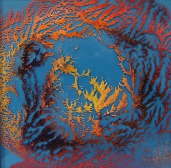 TABLEAU PEINTURE fractale peinture sur verre Abstrait Peinture a l'huile  - Fractale 039