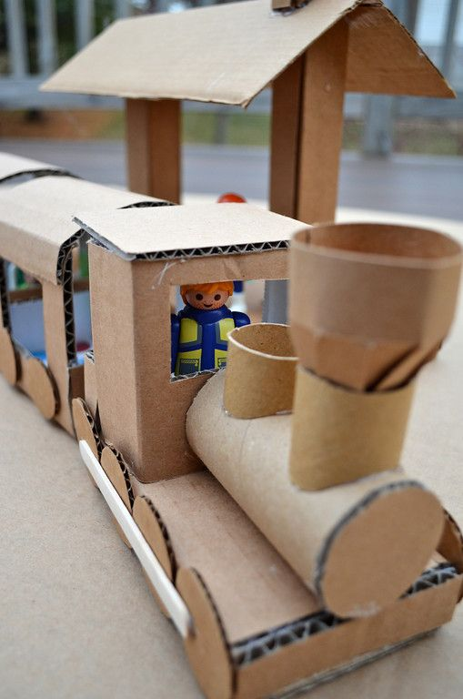 Chugga-Chugga Choo-Choo!  Use your leftover cardboard to make a fun toy train. Via ikatbag