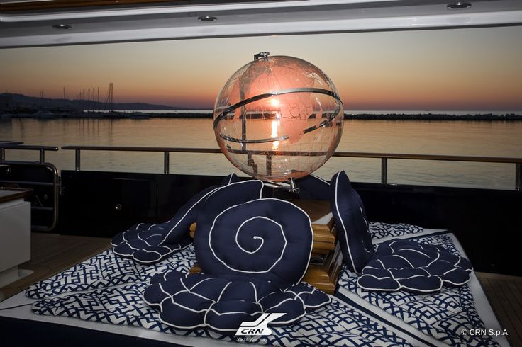 CRN M/Y Blue Eyes of London ex Blue Eyes 60m, as soon as one steps on board the theme of the journey becomes clear: a globe, original work of art an original work of art designed by the shipowner is shining at the centre of th