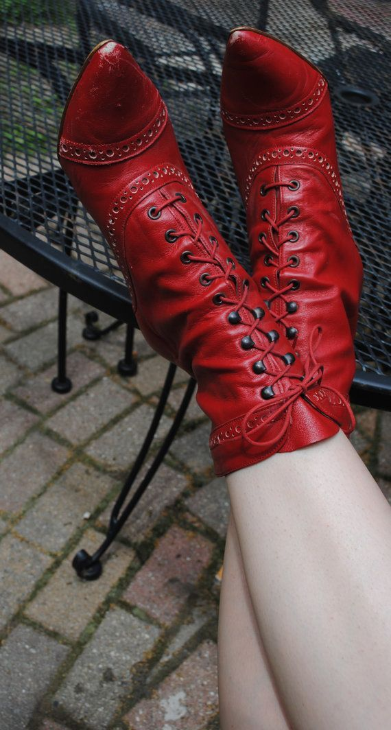 Pagan Shoes Wicca Witch:  Red Witch Shoes, by DeadGirlsVintage.