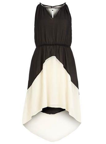 Black and cream deco dip dress