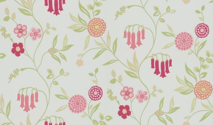 Ophelia (110143) - Harlequin Wallpapers - A beautiful floral trail design with pink bells - showing in pink and green on off white. other colour ways available. Please request a sample for true match. Paste-the-wall product.