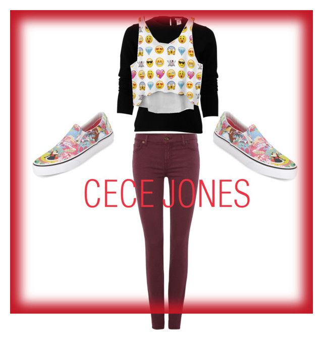 """""""Cece Jones from Shake It Up"""" by eylul554 on Polyvore featuring beauty, Oscar de la Renta, 7 For All Mankind and Vans"""