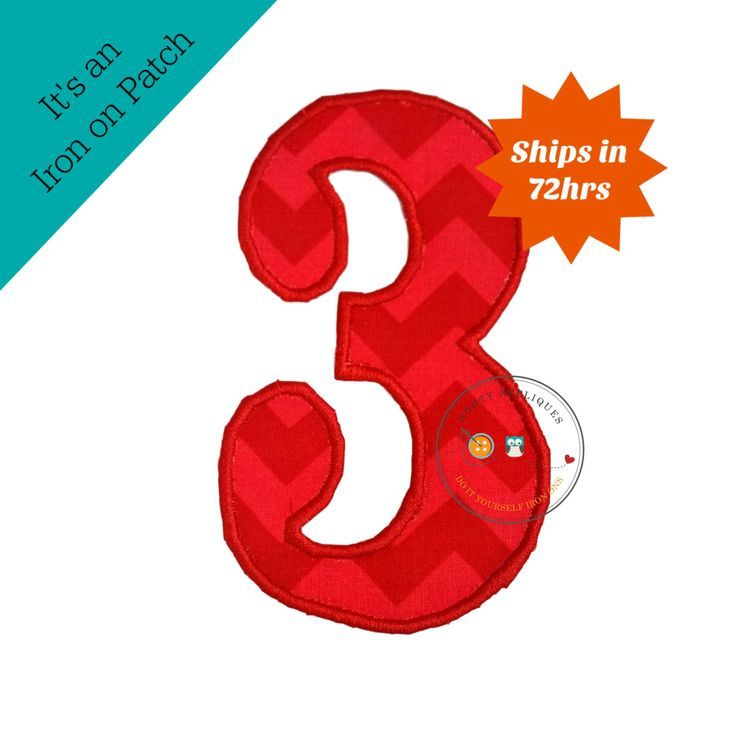 Large red and light red Chevron number 3 - iron on applique
