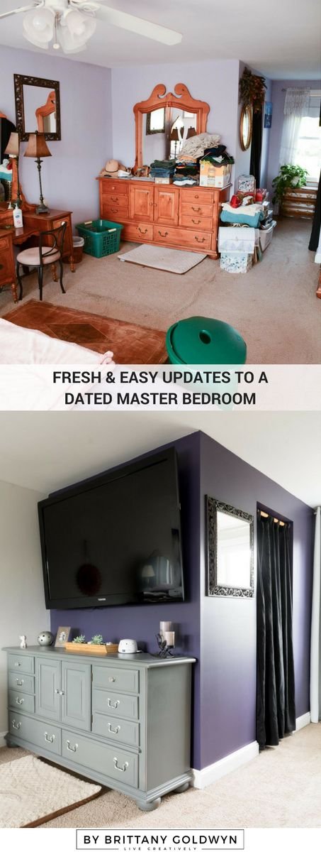 Fresh and easy updates to a dated master bedroom // Sherwin-Williams Quixotic Plum, Sherwin-Williams Basalt Powder, dark purple accent wall, purple and gray bedroom
